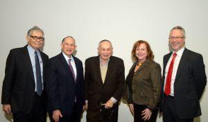 Past and present directors of the Koschitzky Centre for Jewish Studies - left to right - Michael Brown, Martin Lockshin, Sydney Eisen, Sara Horowitz, Carl S. Ehrlich